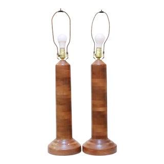 Mid Century Teak Lamps, a Pair For Sale