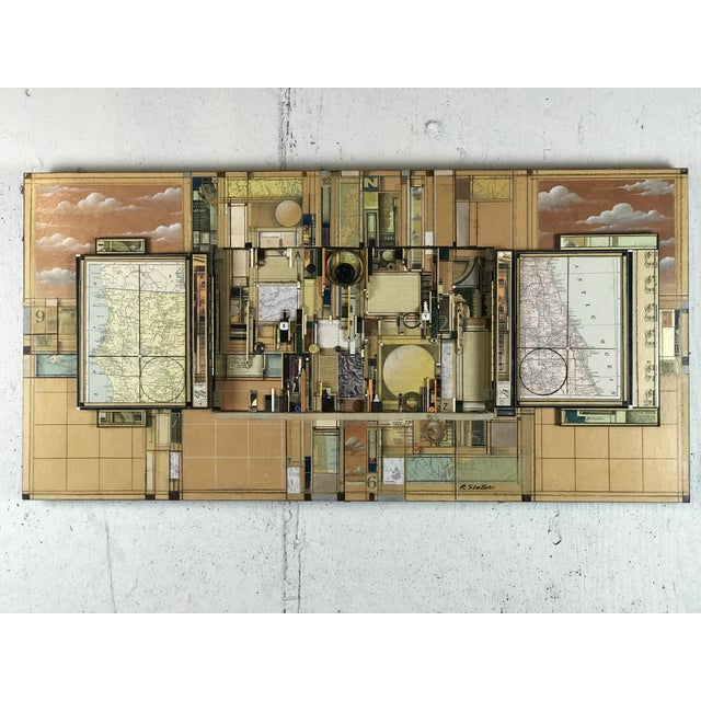 """""""Between Two Points"""" by Roderick Slater 1937-2019 Highly Detailed Rectilinear surrealist & industrial collage of maps,..."""