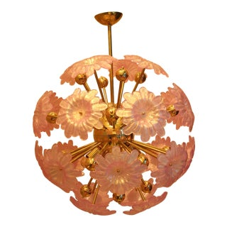 Sputnik Chandelier With Murano Glass Pink Flowers For Sale