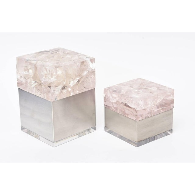 These amazing sculptural French vintage Pierre Giraudon pair of boxes are composed of an encasing of fractal embedded...