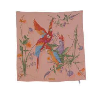 """Vintage Salvatore Ferragamo """"Parrots"""" Silk Scarf For Sale"""