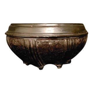 Antique Burmese Lacquer Rattan Bowl For Sale