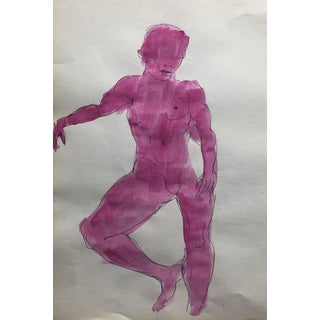 Mid-Century Female Nude Watercolor, 1950s For Sale