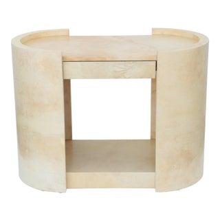 Karl Springer Ivory Lacquered Goatskin Side Table