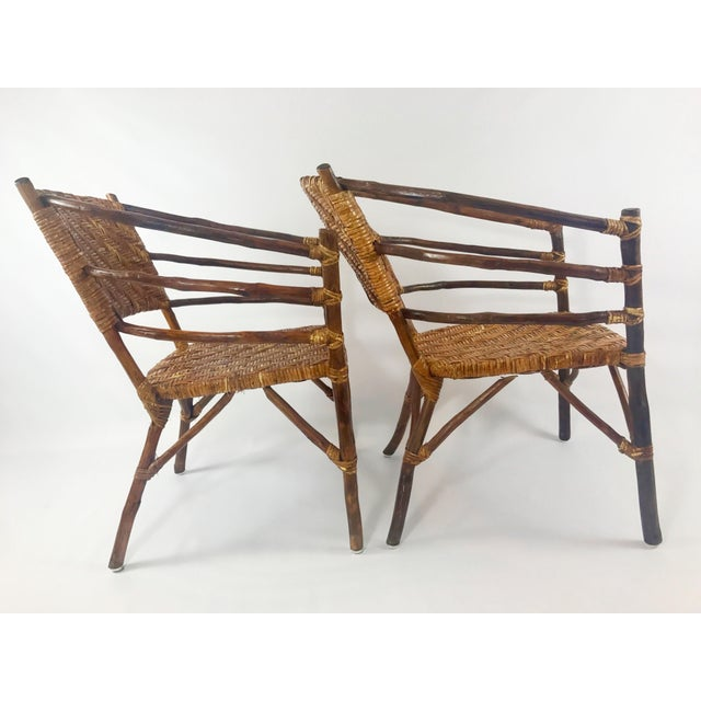 1940s Vintage Barrel Backed Hickory Hoop Arm Chairs - A Pair For Sale - Image 5 of 11