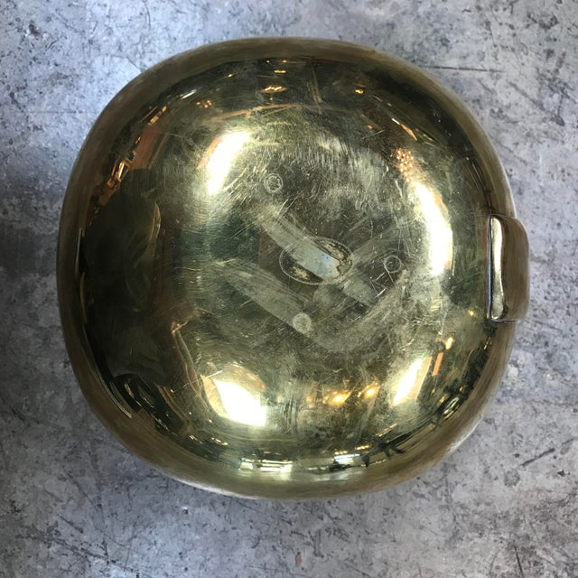 1960s Mid-Century Modern Polished Brass Bowl With Handle For Sale - Image 9 of 10