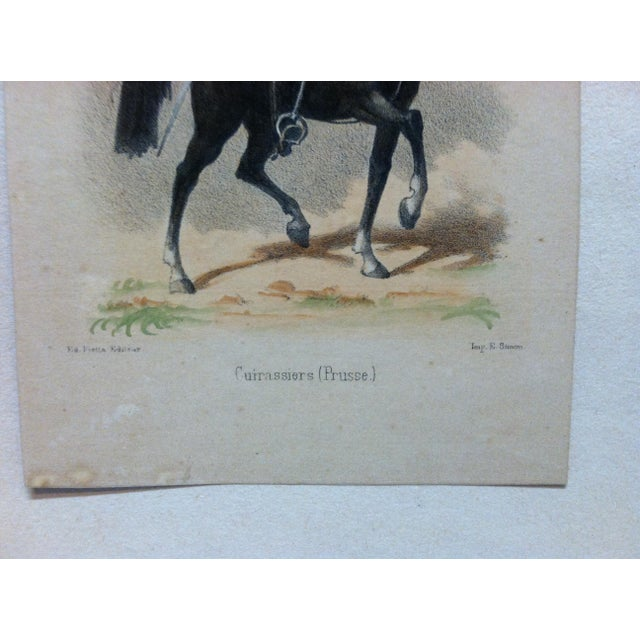 "Mid 19th Century Antique E. Simon ""Cuirassiers (Prusse) Hand-Colored Print For Sale - Image 4 of 5"