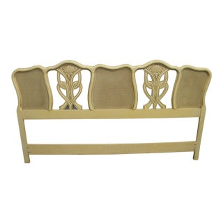 French Caned Hand Painted King Size Headboard For Sale
