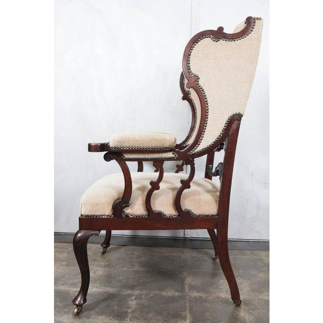 Mahogany Wingback Armchair For Sale - Image 4 of 6