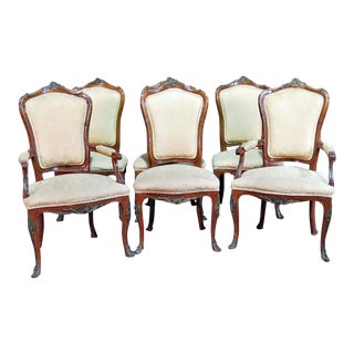 Bronze Mounted Francois Linke Style Walnut Dining Chairs - Set of 6 For Sale