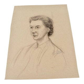 Pencil Portrait of Woman Signed For Sale