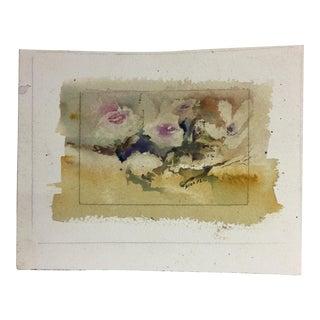 Contemporary Roses in Bloom Original Watercolor 2002 For Sale