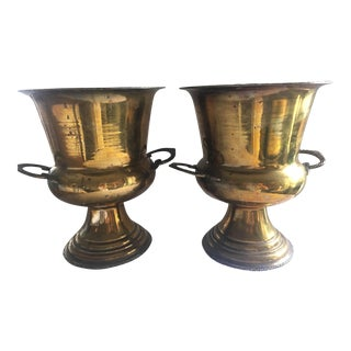 Vintage Brass Trophy Urn Champagne Bucket - a Pair For Sale