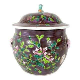 Mid 20th Century Straits Chinese Kamcheng Peranakan/Nyonya Purple Everlasting Spring Ginger Jar For Sale