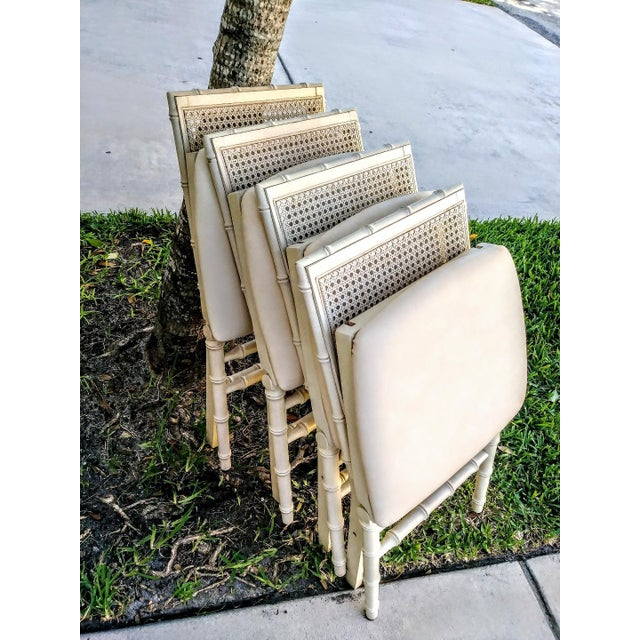 Stakmore Company Set of Vintage Stakmore Palm Beach Regency Faux Bamboo Cane Off White Folding Chairs Set of 4 For Sale - Image 4 of 7