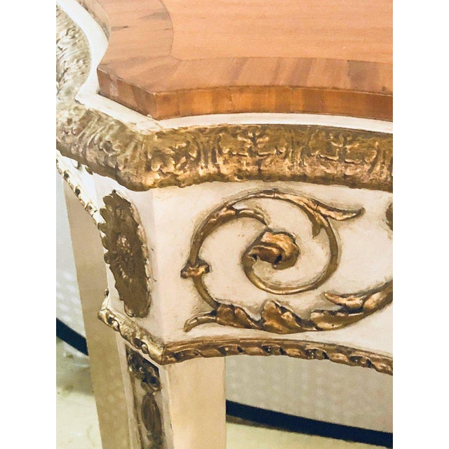Painted Console or Demilune Table Fine Wood Top Louis XV Style by Maison Jansen For Sale - Image 11 of 13