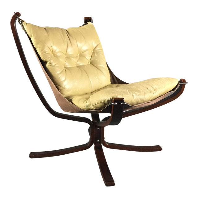 """Sigurd Ressell Yellow """"Falcon"""" Low Back Lounge Chair, 1970s For Sale"""