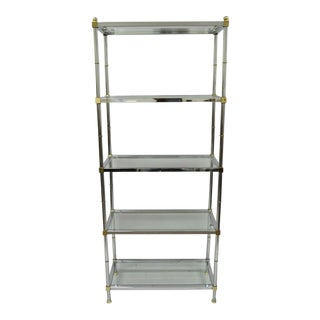 Chrome Brass Hollywood Regency Faux Bamboo Etagere For Sale