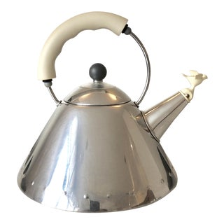 Iconic Alessi Tea Kettle in White by Michael Graves For Sale