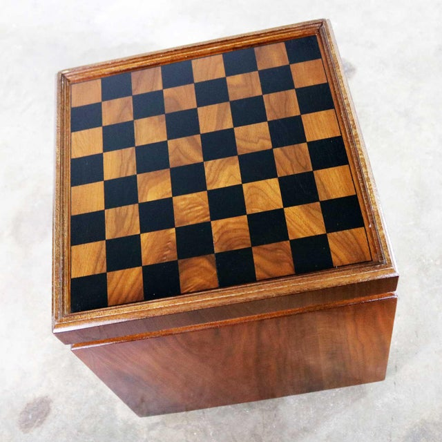 Mid Century Modern Lane Rolling Cube Storage Ottoman With Game Board Flip Table Top For Sale - Image 11 of 13