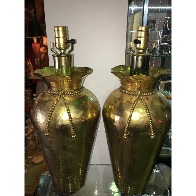 Sarreid Brass Hand Hammered Tassel Lamp - A Pair - Image 6 of 6