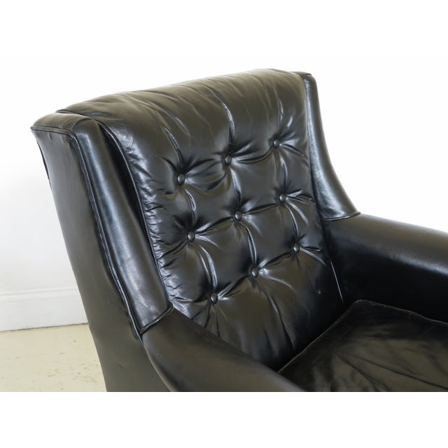 Sherrill Furniture Sherrill Black Leather Club Chair & Ottoman For Sale - Image 4 of 13