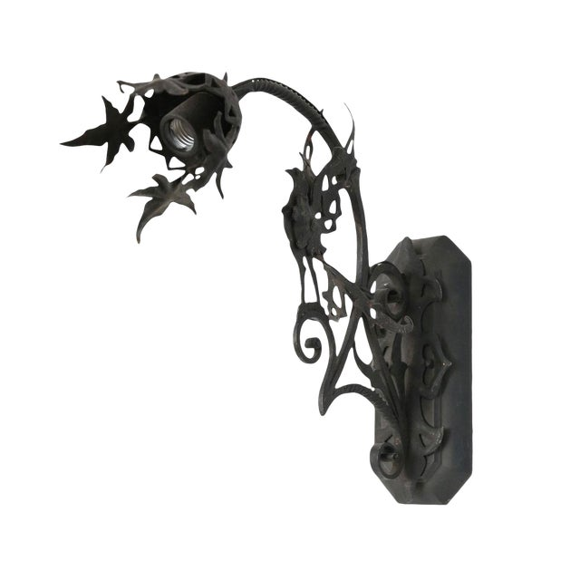 Forged Single Iron Sconce in the Manner of Gilbert Poillerat For Sale