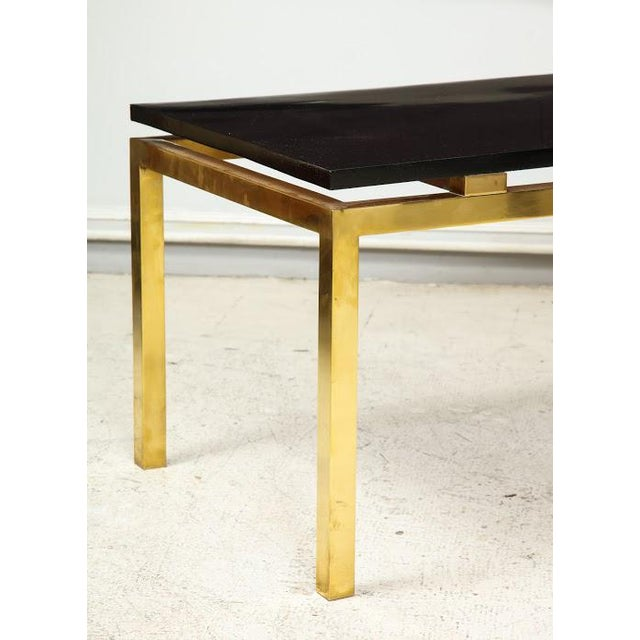 Modern Coffee Table With Lacquered Top on Brass Base For Sale - Image 4 of 7