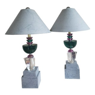 1980s Sculptural Stacked Lucite Lamps by Van Teal - a Pair For Sale