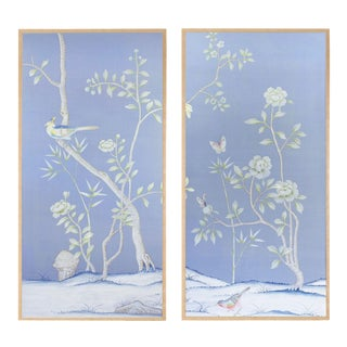 """Jardins en Fleur """"Furness"""" Chinoiserie Hand-Painted Silk Diptych by Simon Paul Scott in Burnished Gold Frame - a Pair For Sale"""