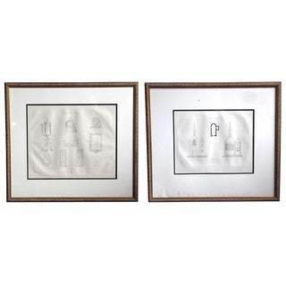 Framed Antique French Drawings