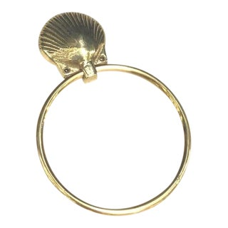 1970s Brass Shell Towel Ring For Sale