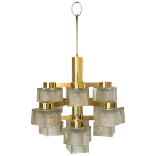 Large Gaetano Sciolari 13 Frosted Cube Brass Chandelier For Sale
