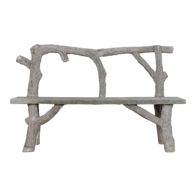 1970s Faux Bois Concrete Bench For Sale