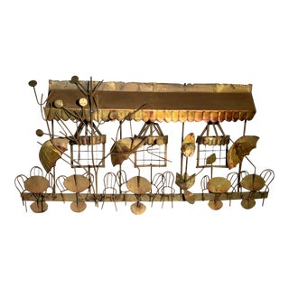 Curtis Jere Signed Cafe Wall Sculpture Brutalist Brass Copper Metal withChairs, Tables, Windows C. 1960 For Sale