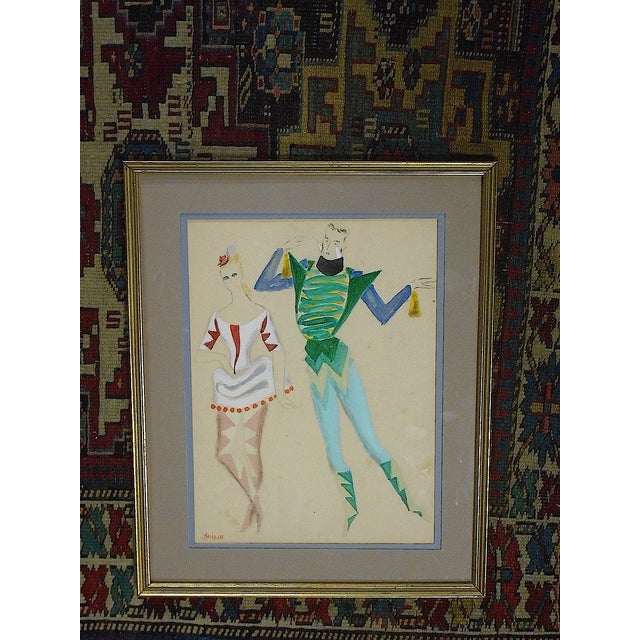 Framed Deco Costume Designs, Gouache and Ink - Image 2 of 4