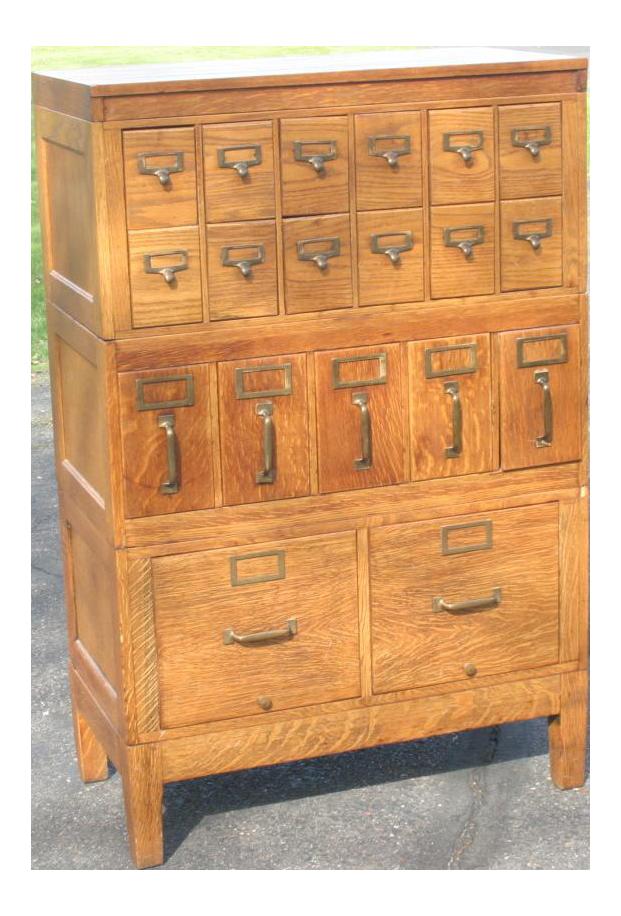 1950s Mid Century Modern Globe Wernicke Wooden Filing Cabinet