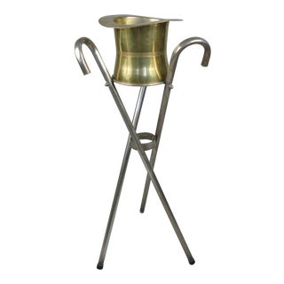 1970's Silver Top Hat & Cane Champagne Bucket on Stand For Sale