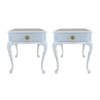 White Chippendale Side Tables -- A Pair For Sale