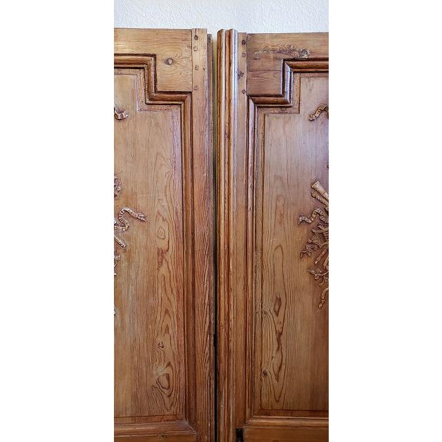 French Mid 19th Century French Pine Carved Door Panels C.1870 For Sale - Image 3 of 11