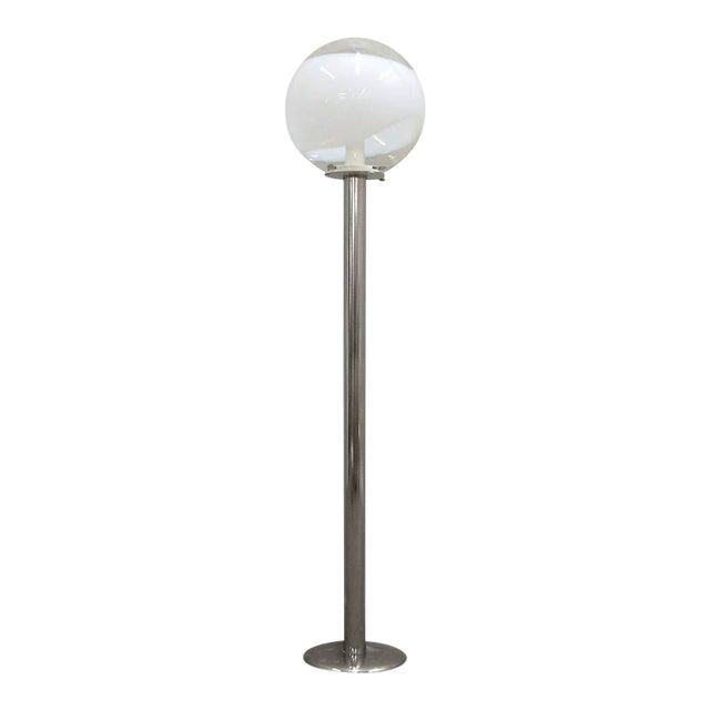 1960s Mazzega Style Tubular Chrome and Murano Glass Floor Lamp For Sale