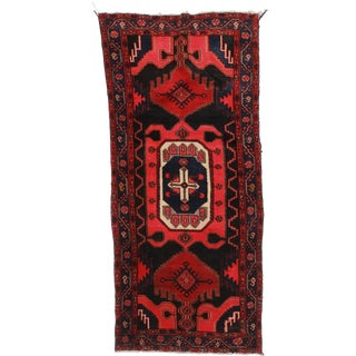 "RugsinDallas Vintage Wool Persian Hamadan Runner - 3'6"" X 7'7"" For Sale"