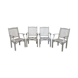 Weather Master Set 4 Teak Outdoor Patio Armchairs For Sale