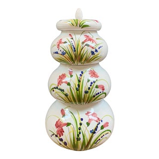 Italian Ceramic Hand Painted Terra-Cotta Stacking Jars - Set of 4 For Sale