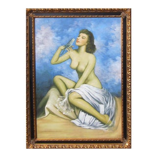 Painting of Woman and Bird For Sale