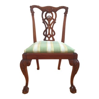 Chippendale Green and White Upholstered Ball & Claw Foot Side Chair For Sale