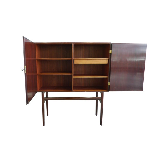 Poul Jeppesen 1960s Danish Rungstedlund Mahogany Highboard by Ole Wanscher for Poul Jeppesen For Sale - Image 4 of 13