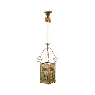 Antique Arts & Crafts Stained Glass Hanging Lamp Pendant Light For Sale