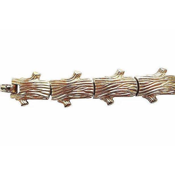 Mid-Century Modern Trifari Golden Bark Ad Piece Bracelet 1955 For Sale - Image 3 of 8