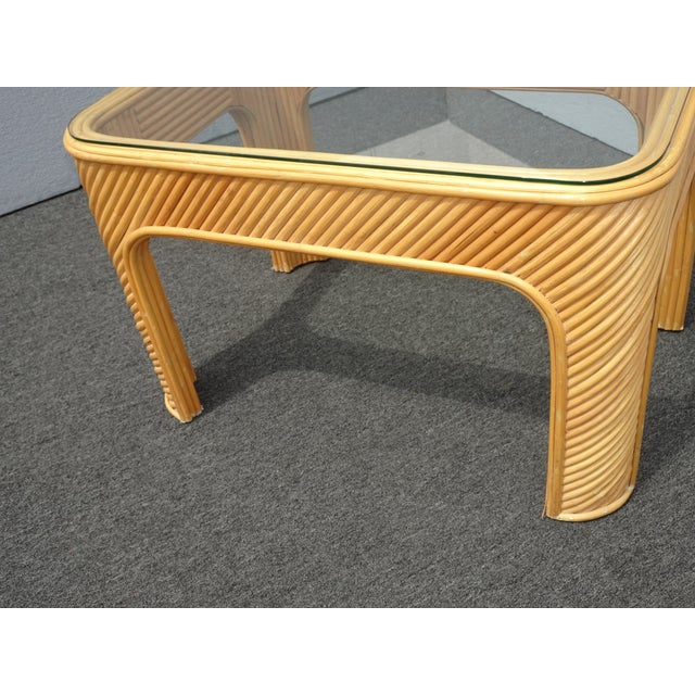 Beige Vintage Mid Century Modern Split Bamboo Rattan Coffee End Table For Sale - Image 8 of 11